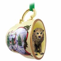 Lion Tea Cup Snowman Holiday Ornament