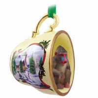 Mandrill Tea Cup Snowman Holiday Ornament
