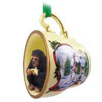 Chimpanzee Tea Cup Snowman Holiday Ornament