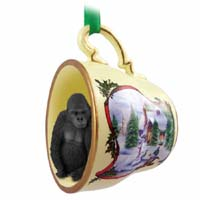 Gorilla Tea Cup Snowman Holiday Ornament