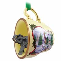 Elephant Tea Cup Snowman Holiday Ornament