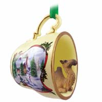 Camel Bactrian Tea Cup Snowman Holiday Ornament