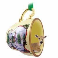 Deer Doe Tea Cup Snowman Holiday Ornament