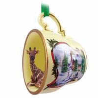 Giraffe Tea Cup Snowman Holiday Ornament
