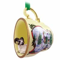 Dahl Sheep Tea Cup Snowman Holiday Ornament
