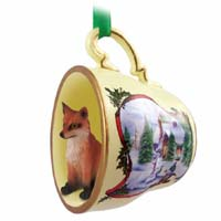 Fox Red Tea Cup Snowman Holiday Ornament