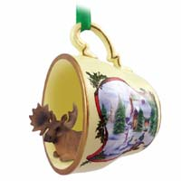 Moose Bull Tea Cup Snowman Holiday Ornament