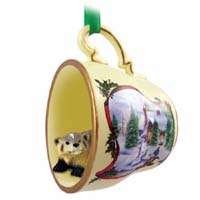 Badger Tea Cup Snowman Holiday Ornament
