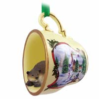 Beaver Tea Cup Snowman Holiday Ornament
