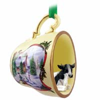 Holstein Bull Tea Cup Snowman Holiday Ornament