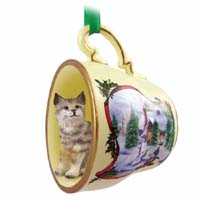 Bobcat Tea Cup Snowman Holiday Ornament