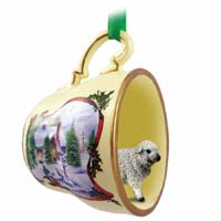 Sheep White Tea Cup Snowman Holiday Ornament