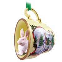 Rabbit White Tea Cup Snowman Holiday Ornament