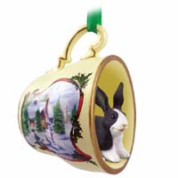 Rabbit Black & White Tea Cup Snowman Holiday Ornament