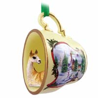 Llama Tea Cup Snowman Holiday Ornament