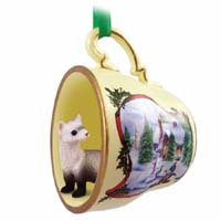Ferret Tea Cup Snowman Holiday Ornament