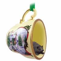 Hedgehog Tea Cup Snowman Holiday Ornament