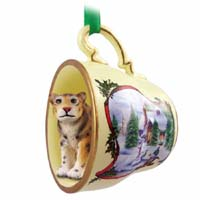Jaguar Tea Cup Snowman Holiday Ornament