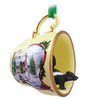Skunk Tea Cup Snowman Holiday Ornament
