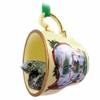 Iguana Tea Cup Snowman Holiday Ornament