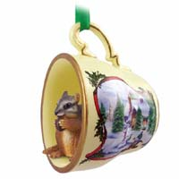 Chipmunk Tea Cup Snowman Holiday Ornament
