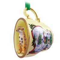 Cheetah Tea Cup Snowman Holiday Ornament