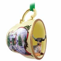 Long Horn Steer Tea Cup Snowman Holiday Ornament