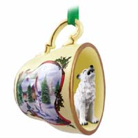 Wolf White Tea Cup Snowman Holiday Ornament