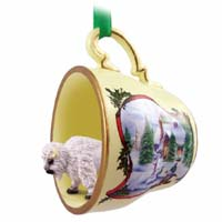 Buffalo White Tea Cup Snowman Holiday Ornament