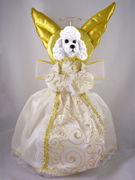 Poodle White w/Sport Cut Doogie Collection Angel Tree Topper
