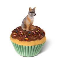 Fox Gray Cupcake Trinket Box