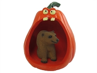 Bear Brown Halloween Statue Figurine and Spooky Pumpkin