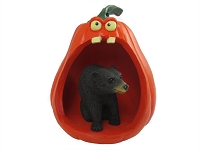 Bear Black Halloween Statue Figurine and Spooky Pumpkin