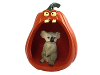 Koala Halloween Statue Figurine and Spooky Pumpkin
