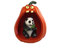 Panda Halloween Statue Figurine and Spooky Pumpkin