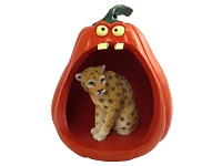 Leopard Halloween Statue Figurine and Spooky Pumpkin