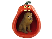 Lion Halloween Statue Figurine and Spooky Pumpkin