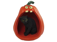 Panther Halloween Statue Figurine and Spooky Pumpkin