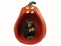 Chimpanzee Halloween Statue Figurine and Spooky Pumpkin