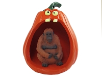 Orangutan Halloween Statue Figurine and Spooky Pumpkin