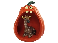 Giraffe Halloween Statue Figurine and Spooky Pumpkin