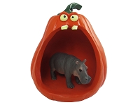 Hippopotamus Halloween Statue Figurine and Spooky Pumpkin