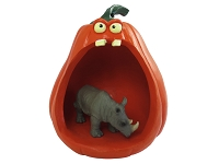 Rhinoceros Halloween Statue Figurine and Spooky Pumpkin