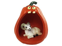 Dahl Sheep Halloween Statue Figurine and Spooky Pumpkin
