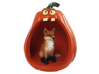 Fox Red Halloween Statue Figurine and Spooky Pumpkin