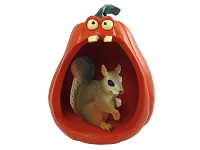 Squirrel Red Halloween Statue Figurine and Spooky Pumpkin