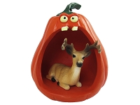 Deer Buck Halloween Statue Figurine and Spooky Pumpkin