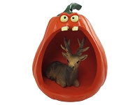 Elk Bull Halloween Statue Figurine and Spooky Pumpkin