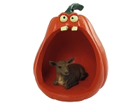 Goat Brown Halloween Statue Figurine and Spooky Pumpkin