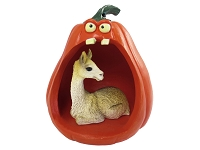 Llama Halloween Statue Figurine and Spooky Pumpkin
